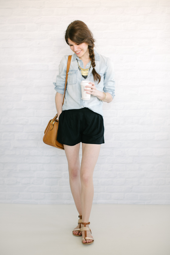 chambray   flowy shorts
