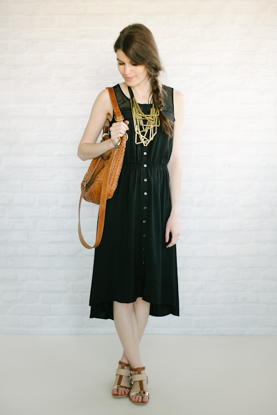 statement necklace + black midi dress