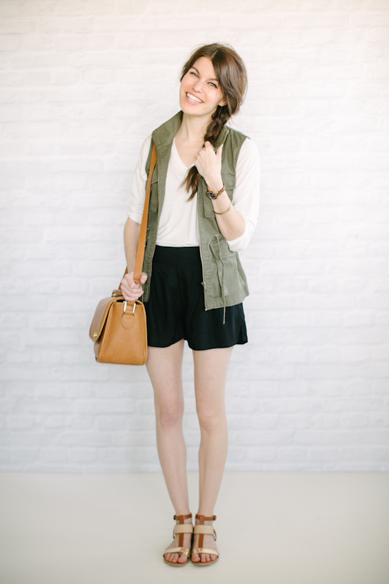 utility vest + flowy shorts: the girl about town