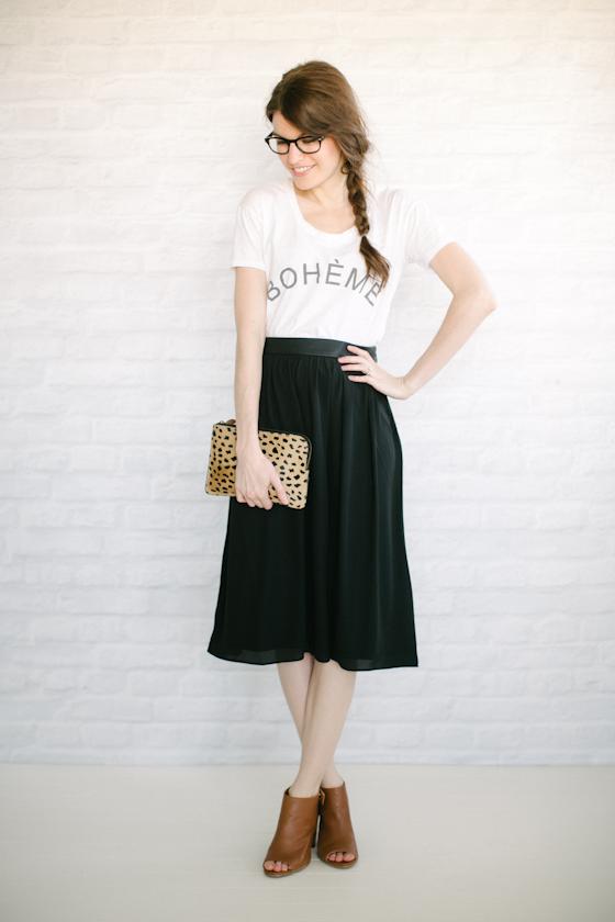 midi skirt + tee: sunday best
