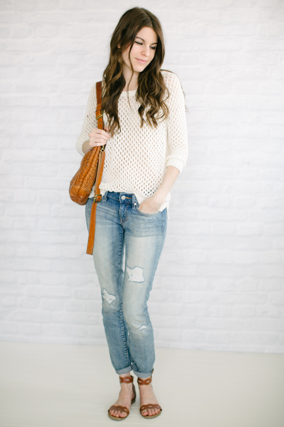 Boyfriend Jeans + Open Knit Sweater