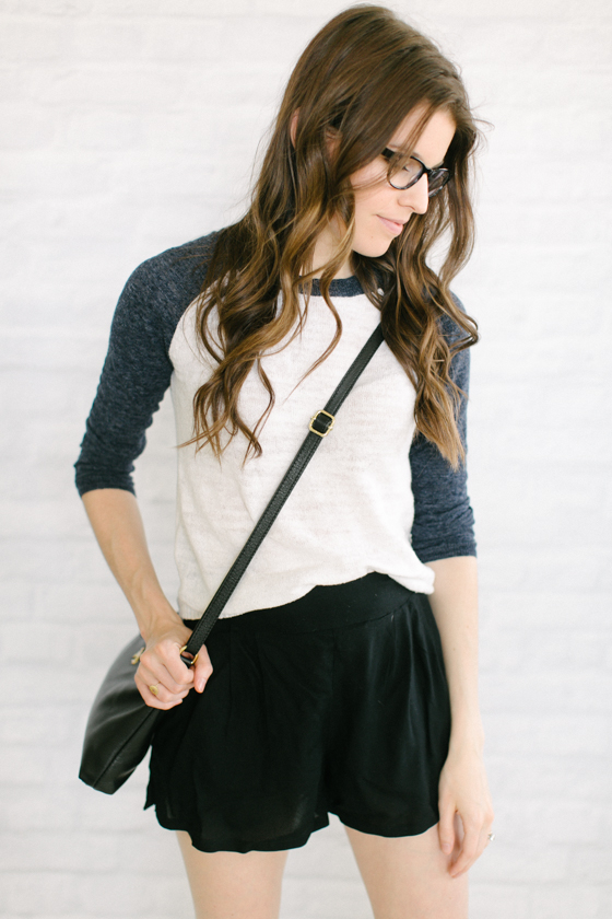 baseball tee   flowy shorts