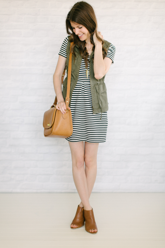 a4f2bcc62342 striped dress + utility vest