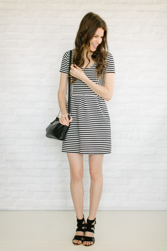 striped dress + chunky heels