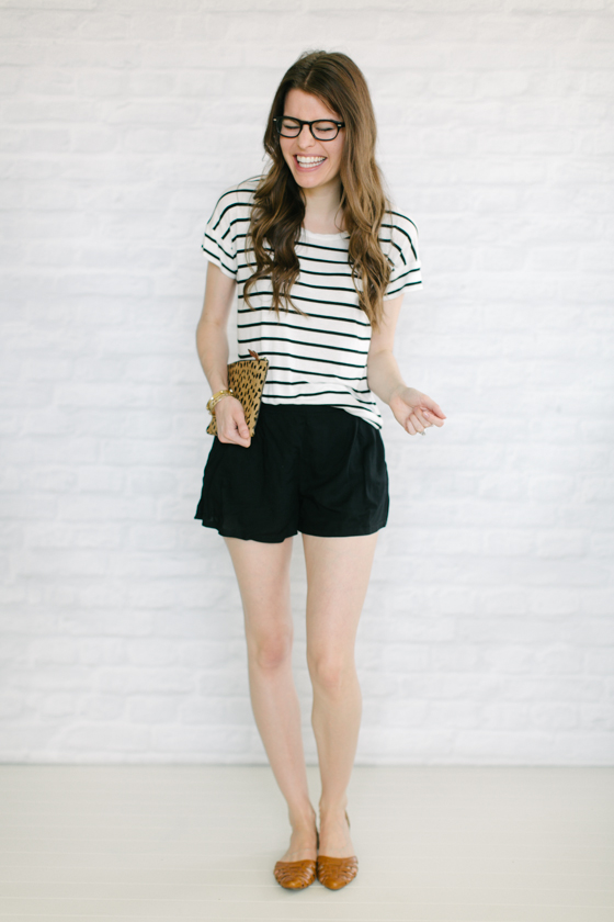flowy shorts + flats + stripes