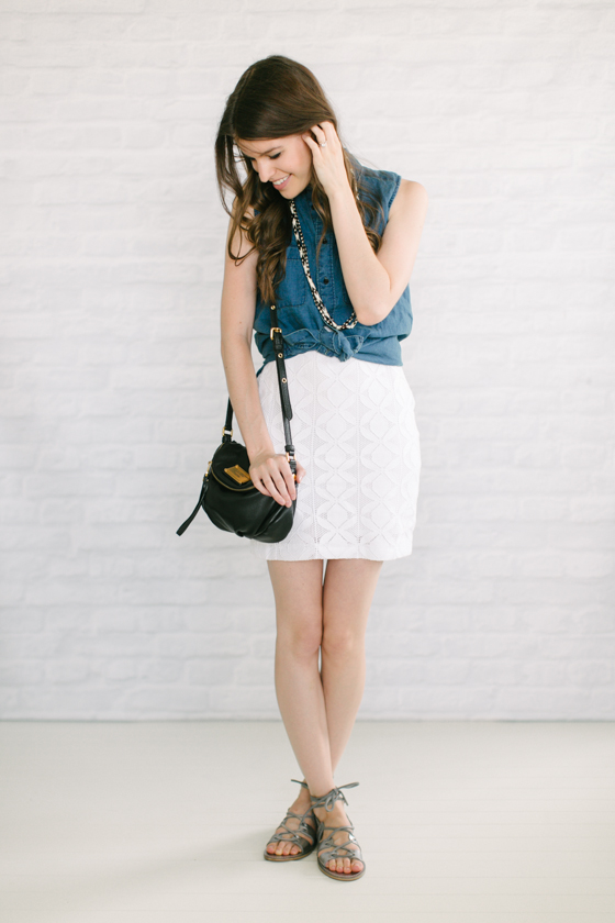 Chambray + White Dress + Silver Sandals