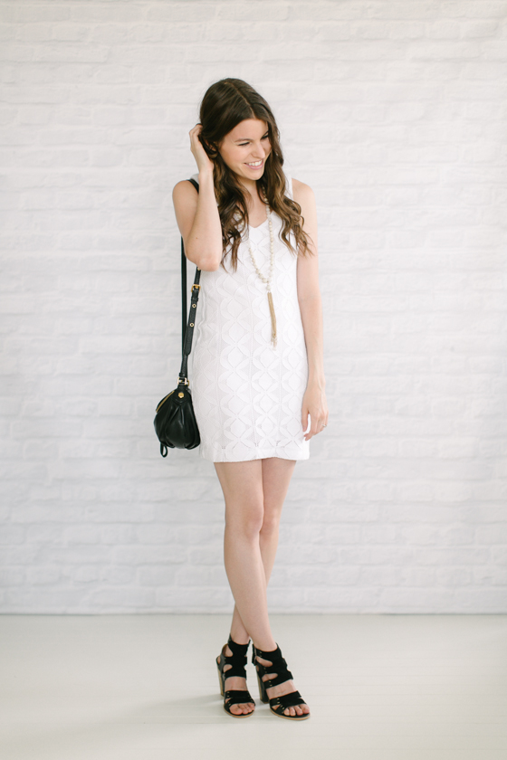 white dress   black chunky heels