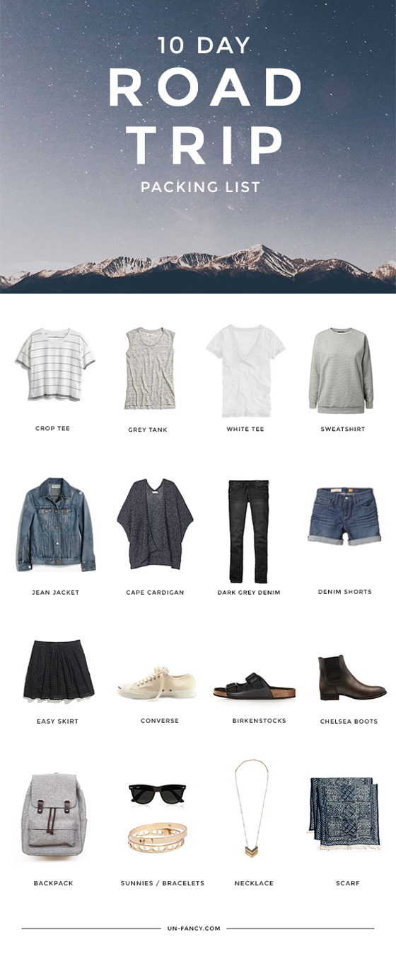 what to pack for a 10 day road trip. Black Bedroom Furniture Sets. Home Design Ideas